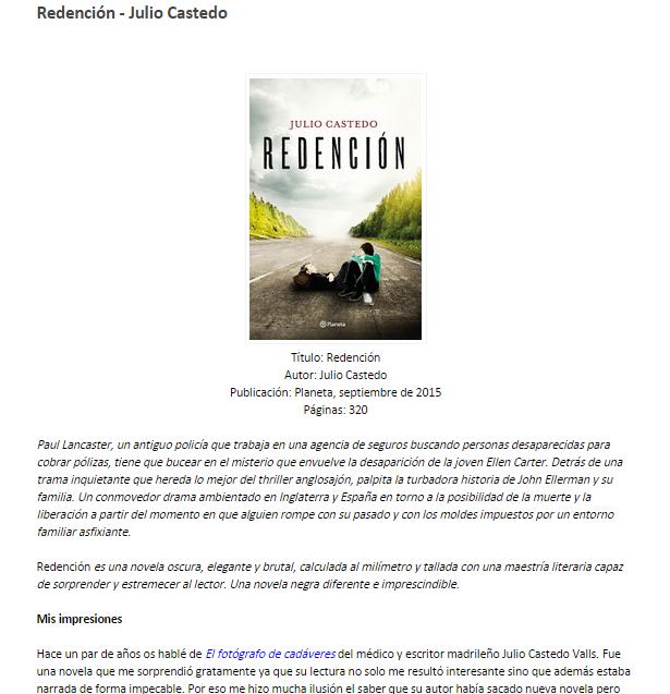 Captura de pantalla de uno de los artículos de recomendación de este blog literario