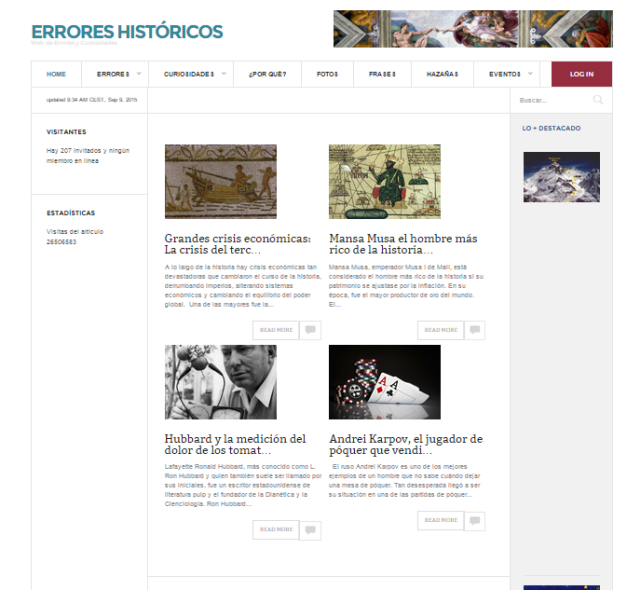 Captura de pantalla general de este gran blog de curiosidades