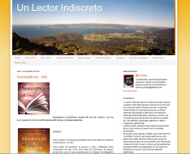 Captura de pantalla general de este gran blog de reseñas y recomendaciones de literatura