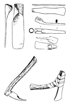 Dibujo de objetos metálicos sirios hallados del siglo XIII a.C.