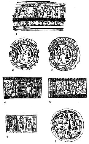 Dibujos hechos a partir de ejemplos de glíptica de Karkemish del siglo XIII a.C.