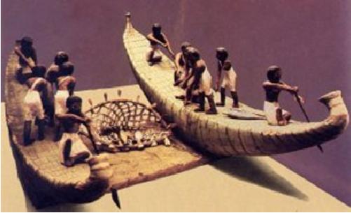 Figuras de barcas de papiro utilizadas para la pesca