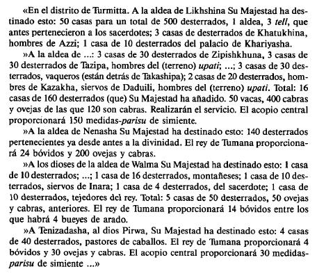 Fragmento de un documento hitita en el que se habla del re poblamiento con desterrados