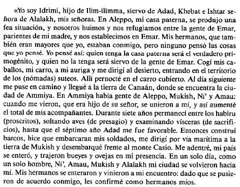Fragmento traducido de la autobiografía de Idrimi, rey de Alalakh
