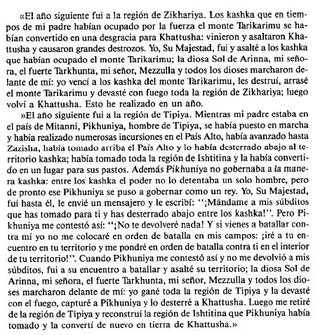 Fragmento traducido de los anales del rey hitita Murshili II