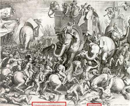 Ilustración renacentista recreando la Batalla de Zama