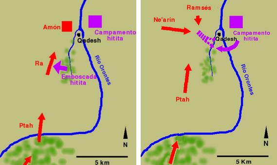 Imagen combinada que muestra los movimientos militares durante las dos fases de la Batalla de Qadesh