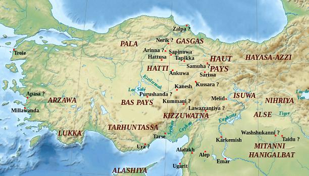 Mapa con la localización aproximada de los grandes lugares del mundo hitita
