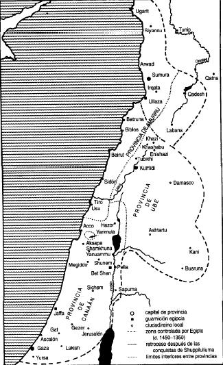 Mapa de los dominios egipcios en Siria-Palestina entre el siglo XV y el XIII a.C.