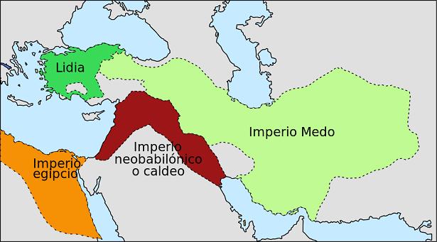 Mapa del estado aproximado del Próximo Oriente hacia el 600 aC