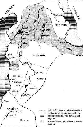 Mapa que muestra los dominios hititas en Siria durante el Bronce Final