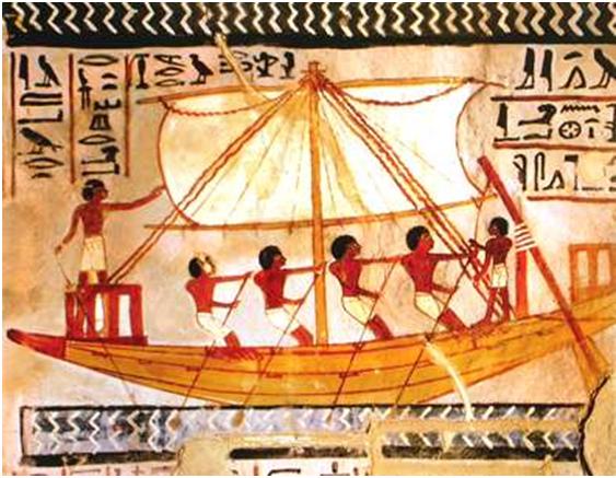 Pintura egipcia, en la que se puede observar el velamen rectangular sujeto por dos vergas horizontales