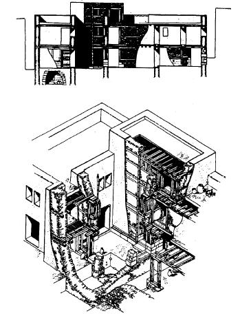Reconstrucción axonométrica de una vivienda siria del siglo XIII a.C.