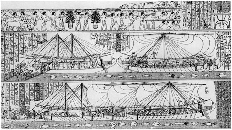 Relieve de la expedición de Punt realizada durante el reinado de la reina Hatshepsut
