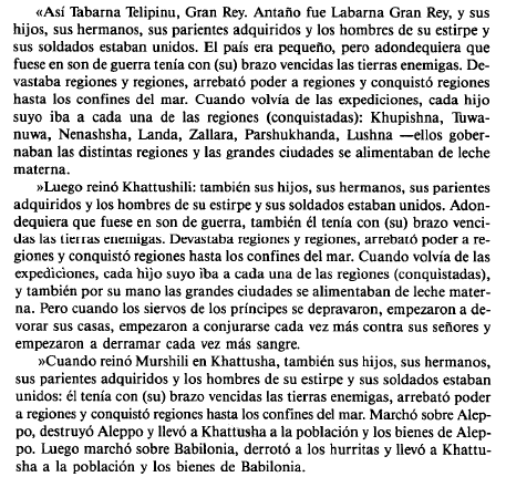Texto traducido de parte del Edicto de Telepinu