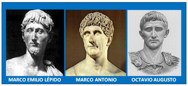 Bustos de los integrantes del Segundo Triunvirato romano