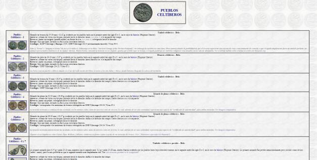Captura de pantalla de una de las docenas de páginas de numismática antigua de esta gran web
