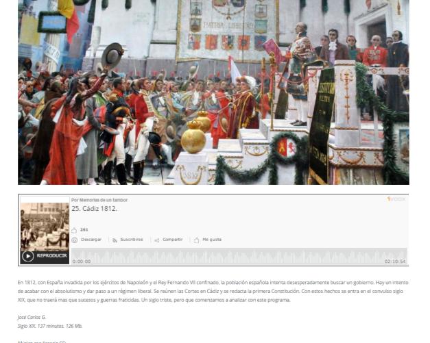 Captura de pantalla de uno de los podcasts de esta gran web de Historia de España