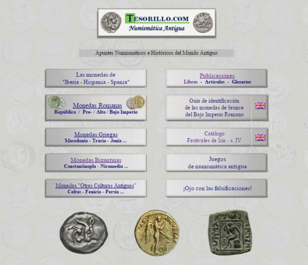 Captura de pantalla general de esta gran web de numismática antigua