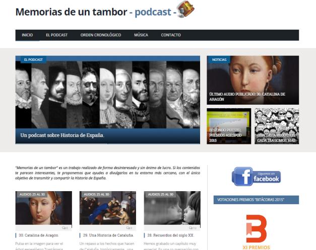 Captura de pantalla general de esta gran web de podcasts de Historia de España