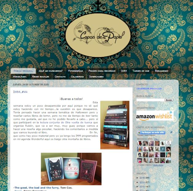 Captura de pantalla general de este gran blog de recomendaciones literarias