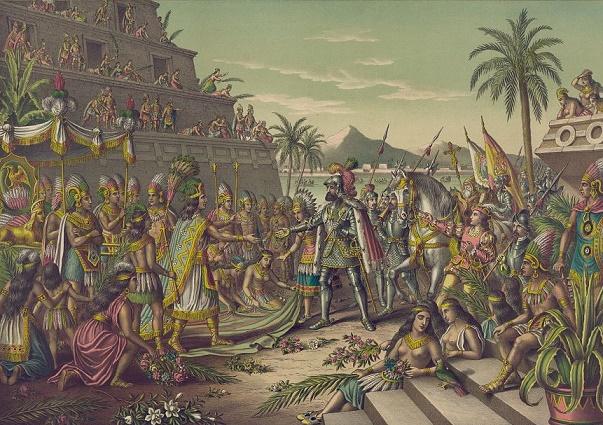 Cuadro que recrea el encuentro entre Moctezuma y Hernán Cortés
