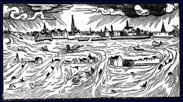 Dibujo de Hans Moser de la gran inundación de 1570
