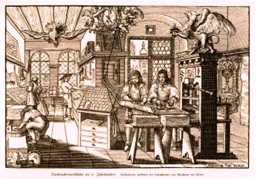 Ilustración 2: Tipografia holandesa - Grabado de Abraham von Werdt en el que se refleja a trabajadores en la Imprenta. 1677