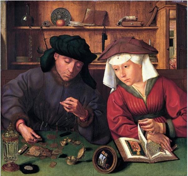 """Ilustración 3: """"El cambista y su mujer"""", pintado por Quentin Massys. 1514 (Museo del Louvre)"""