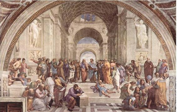 """Ilustración 4: """"Escuela de Atenas"""", pintado por Rafael Sanzio. 1510. (El Vaticano)"""
