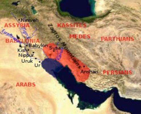 Mapa aproximado de la extensión del imperio elamita