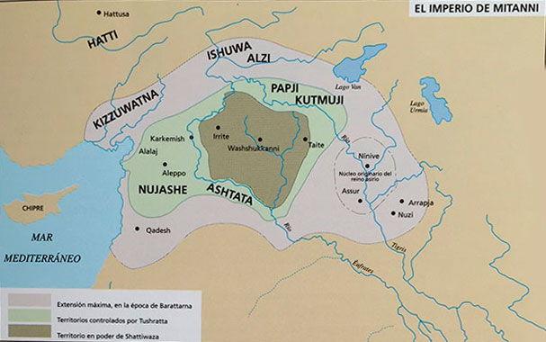 Mapa de las distintas extensiones del imperio de Mitanni