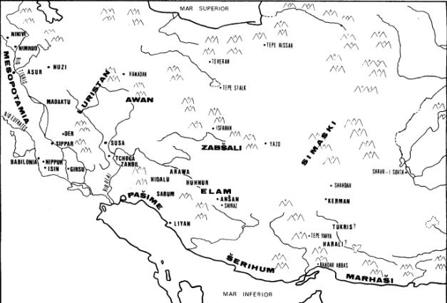 Mapa geográfico de Elam y las regiones vecinas