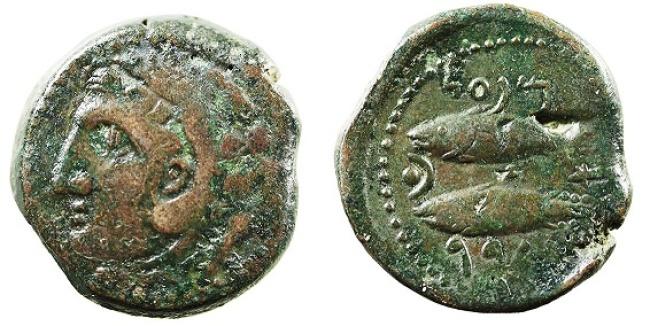 Monedas acuñadas en Cádiz mostrando a Melqart y dos atunes