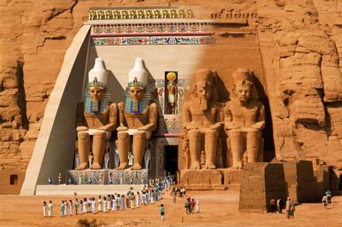 Posible reconstrucción del templo de Abu Simbel en tiempos del reinado de Ramsés II