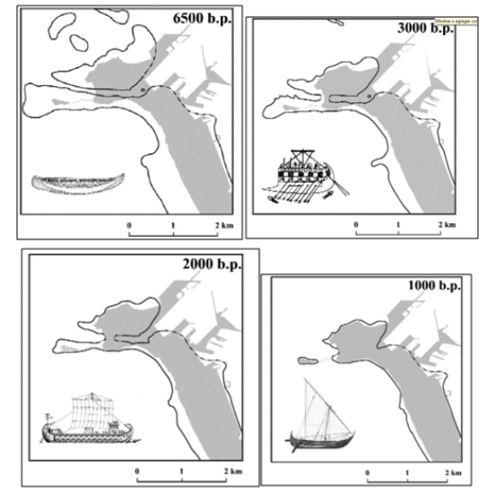 Reconstrucción de la línea de costa en la bahía de Cádiz entre el 4500 a.C. y el 1000 d.C. (Arteaga y Ross, 2003)