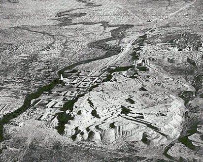 Vista desde el aire del yacimiento arqueológico de la ciudad de Susa