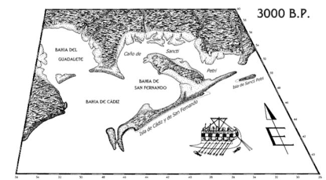 Vista más detallada de esta reconstrucción en el 1000 a.C. (Arteaga y Ross, 2003)