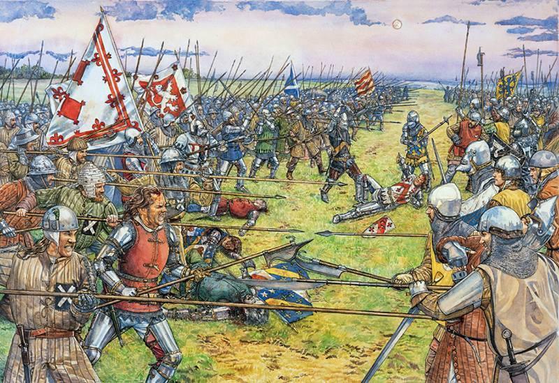 Lámina de la Batalla de Stirling en el que se ve el verdadero aspecto de los escoceses