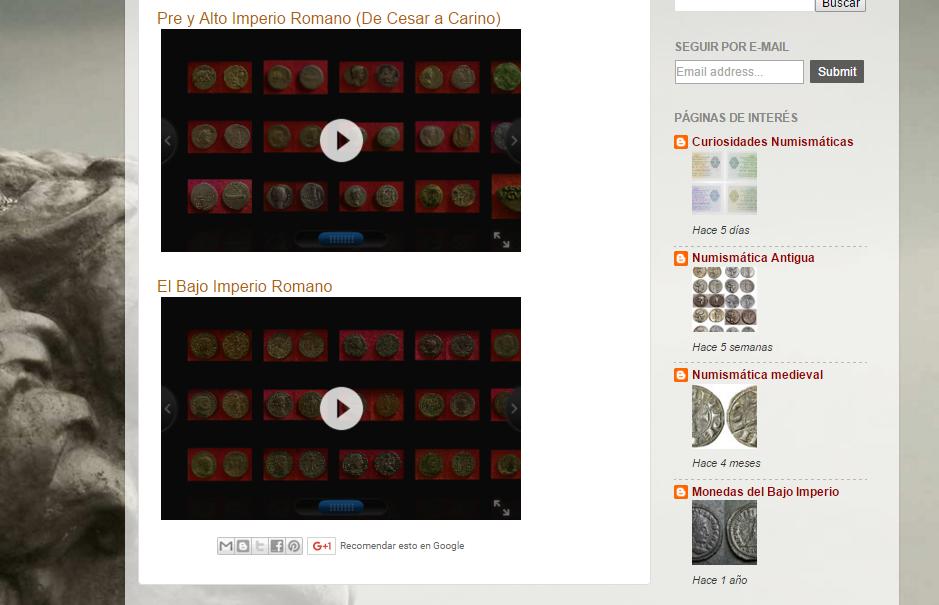 Captura de pantalla de parte de la galería de este gran blog de numismática