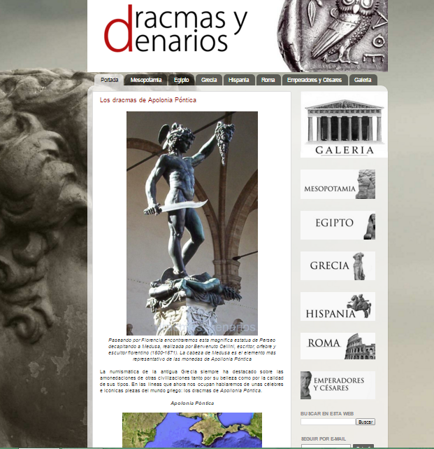Captura de pantalla general de este gran blog de numismática antigua