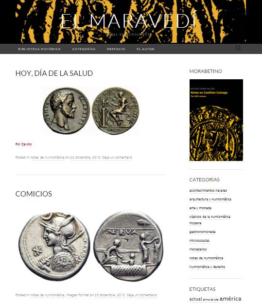 Captura de pantalla general de este gran blog de numismática