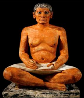 Escultura que representa a un escriba