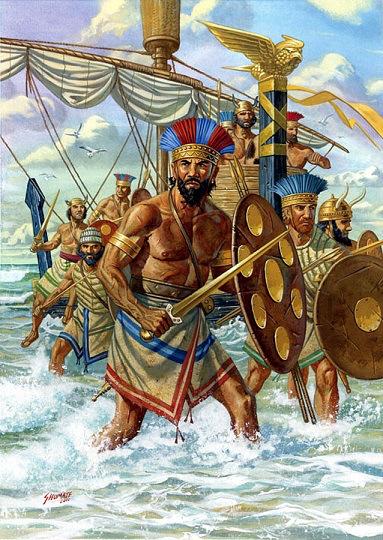 Imagen muy idealizada de los pueblos del mar a partir de las fuentes contemporáneas