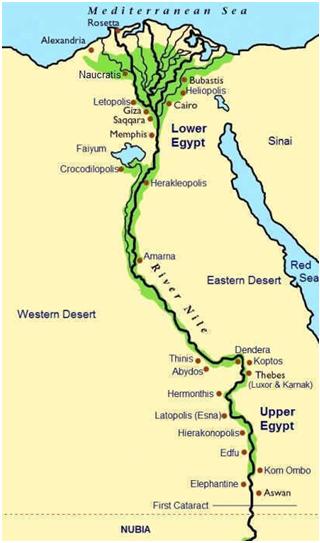 Mapa del río Nilo y principales ciudades egipcias