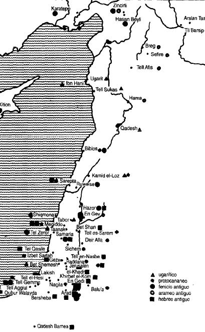 Mapa que muestra la difusión de las primeras escrituras alfabéticas en Siria-Palestina