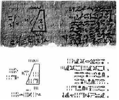 Papiro que muestra un problema matemático