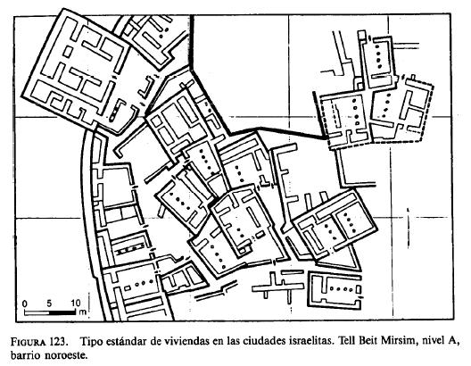 Tipo estándar de viviendas en las ciudades israelitas (Tell Beit Mirsim)