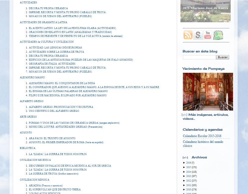 Captura de pantalla de parte del inmenso índice de este magnífico blog
