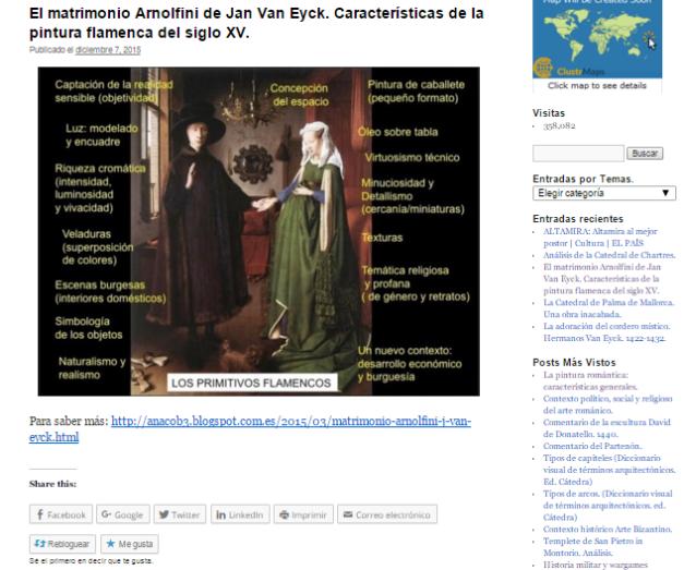 Captura de pantalla de uno de los artículos de este gran blog de Historia del Arte para estudiantes